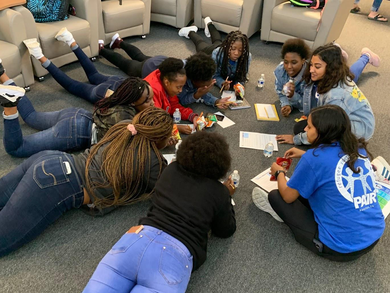 PAIR mentors doing an activity with students in April 2020.