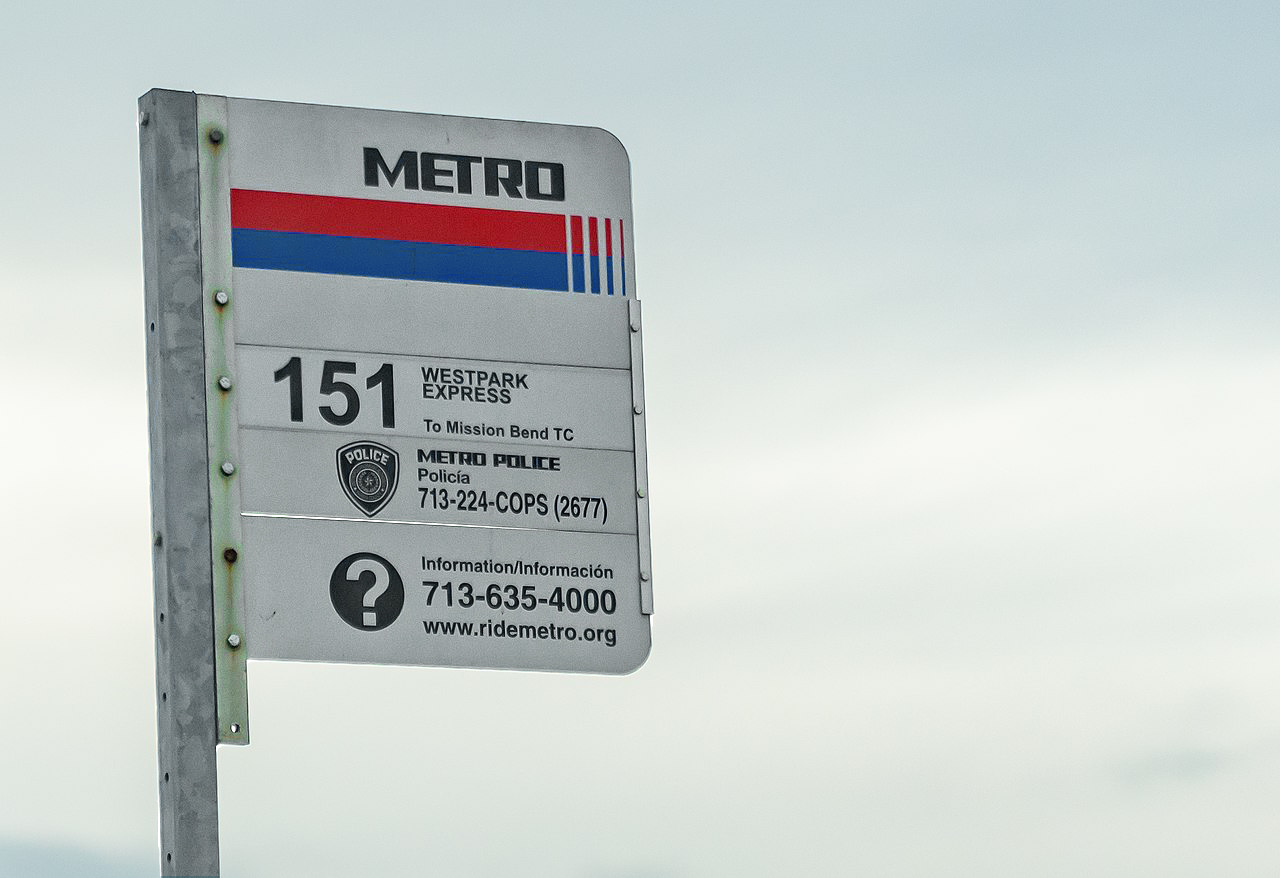Houston METRO Bus Stop Sign - 151 Westpark Express