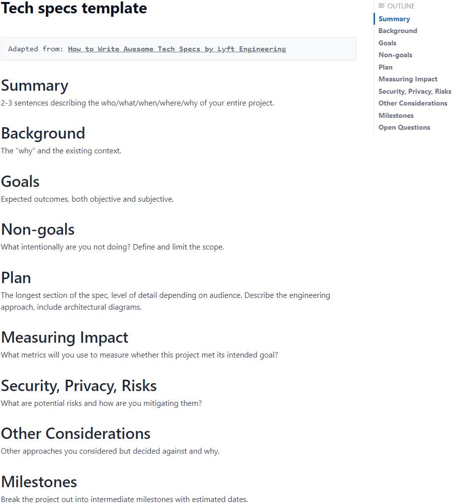 tech specs template