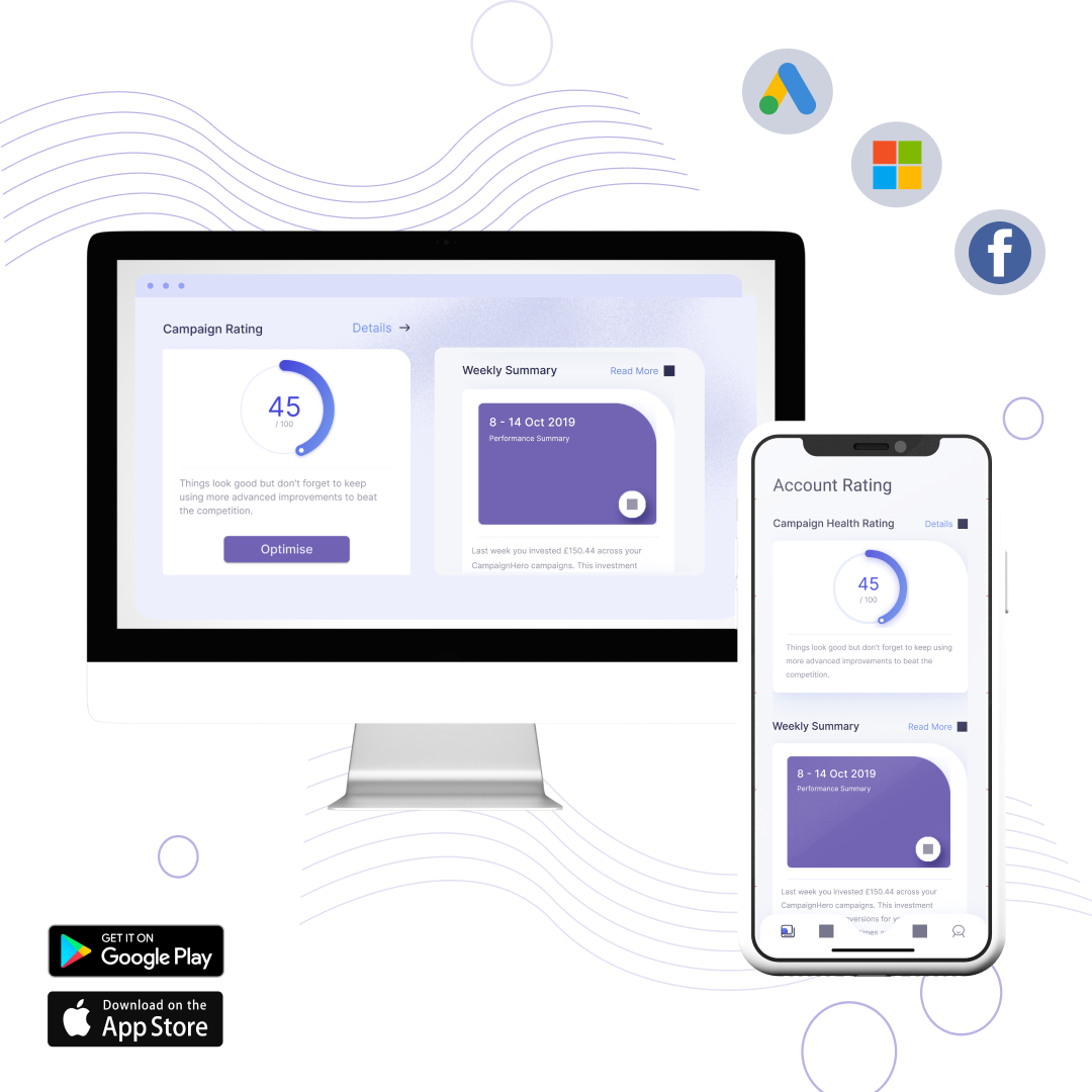 CampaignHero app screenshots on mobile and desktop showing dashboard for Facebook, Google and Microsoft ads logos