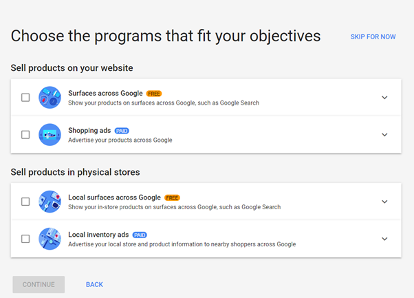 Google Shopping Objectives
