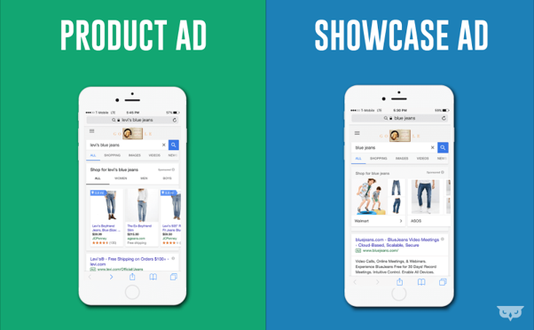 Google product and showcase ad