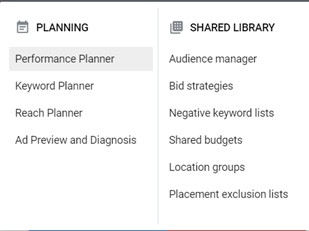 Where can I find the Google ads performance planner