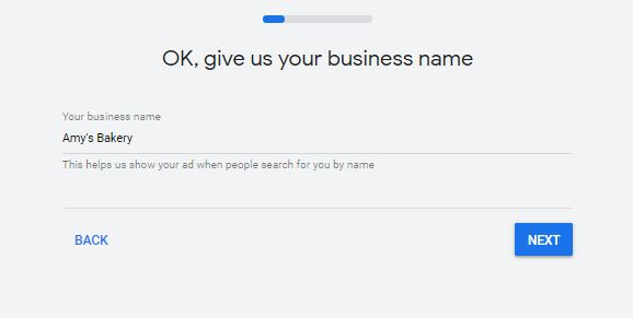 Entering your business name in Google Ads Smart Campaigns
