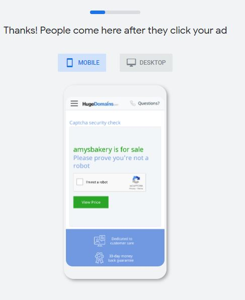 Preview your website for your Google Ads Smart Campaigns