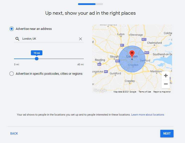 Entering location to your Google Ads Smart Campaign