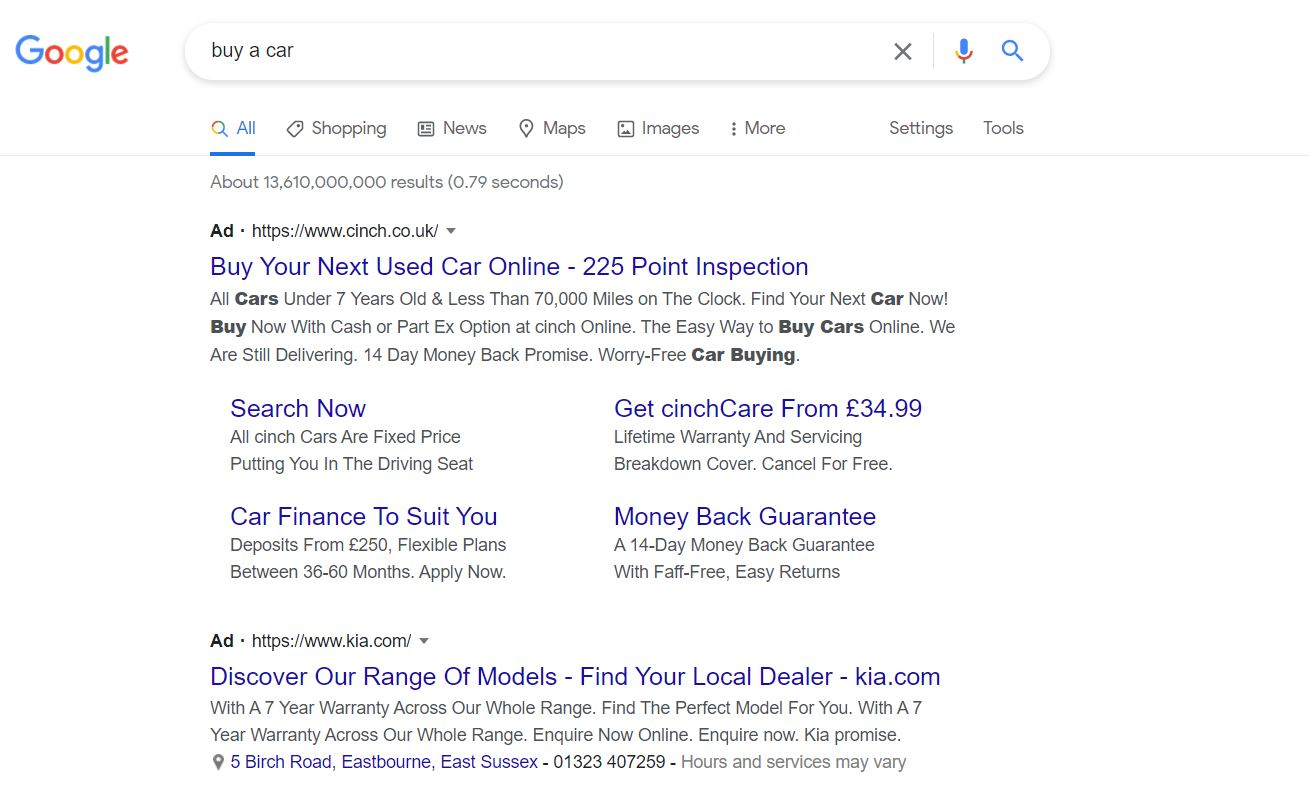 Google Search Ad - Buy A Car Search Enquiry