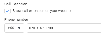Facebook ads website call extensions example