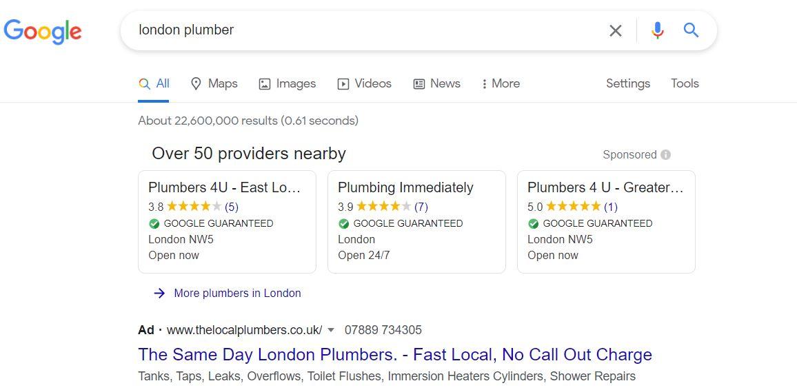 Google Local Service Ads - London Plumbers