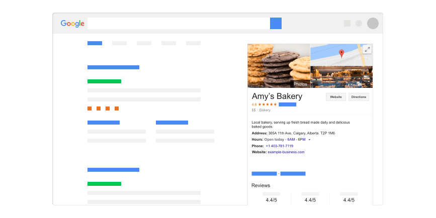 Google My Business Listing - Amy's Bakery
