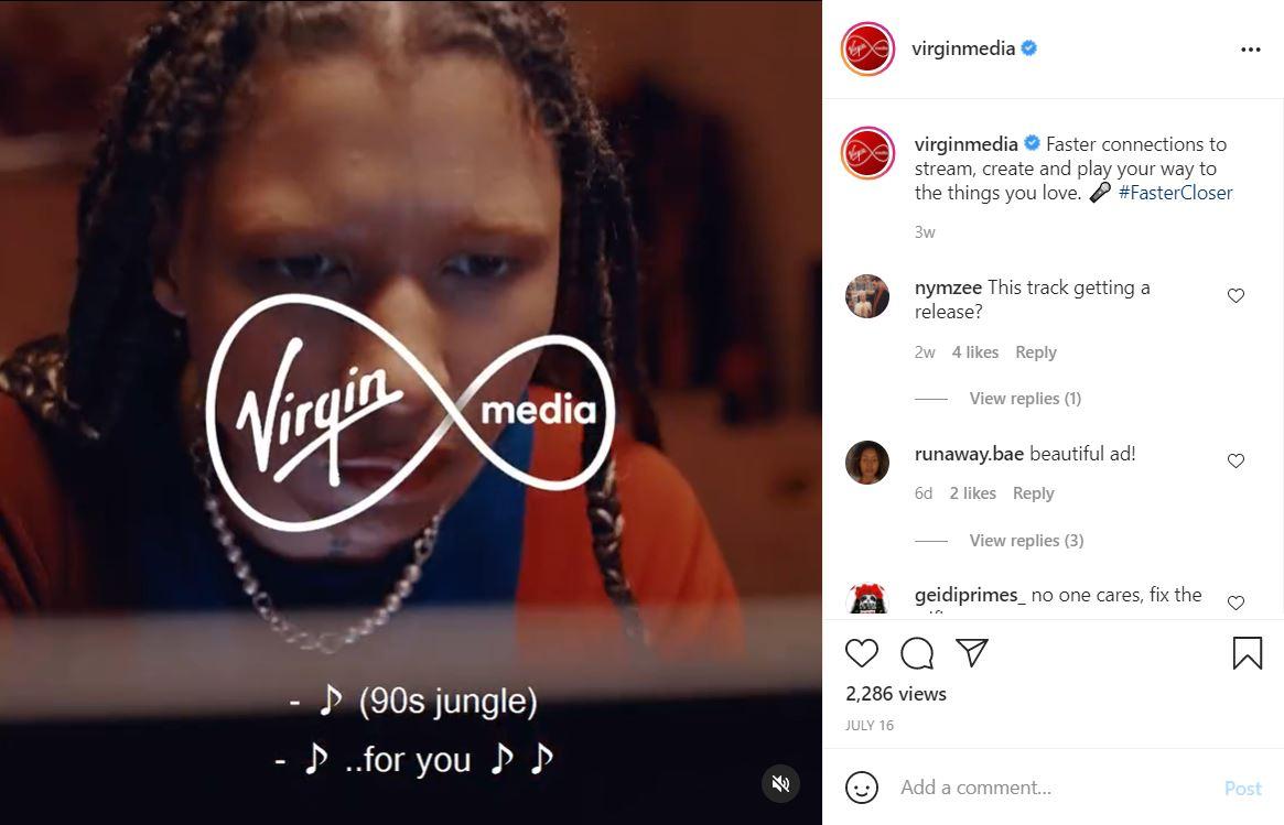 Virgin Media Instagram #FasterCloser