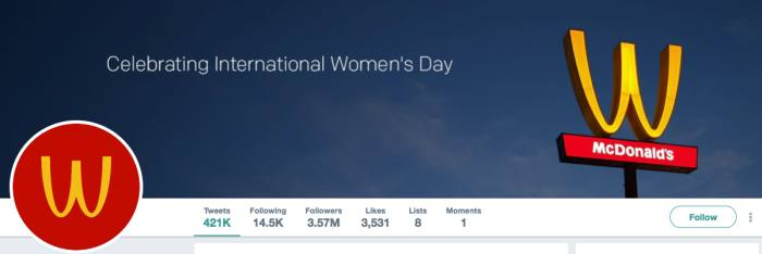 International Womens Day McDonalds Twitter