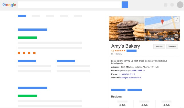Amy's bakery appearance on Google My Business