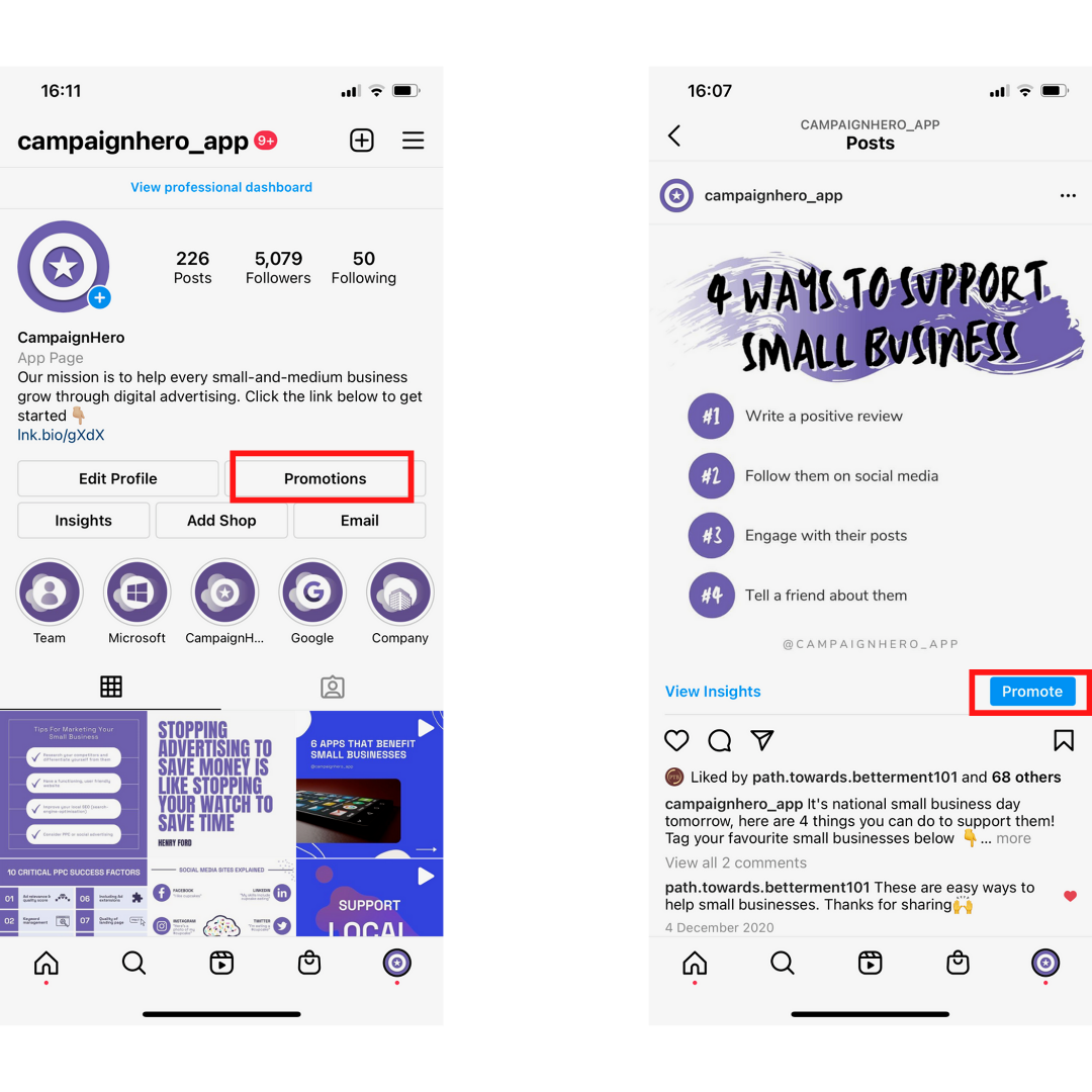 CampaignHero Instagram Account Highlighting Promotions and Promote