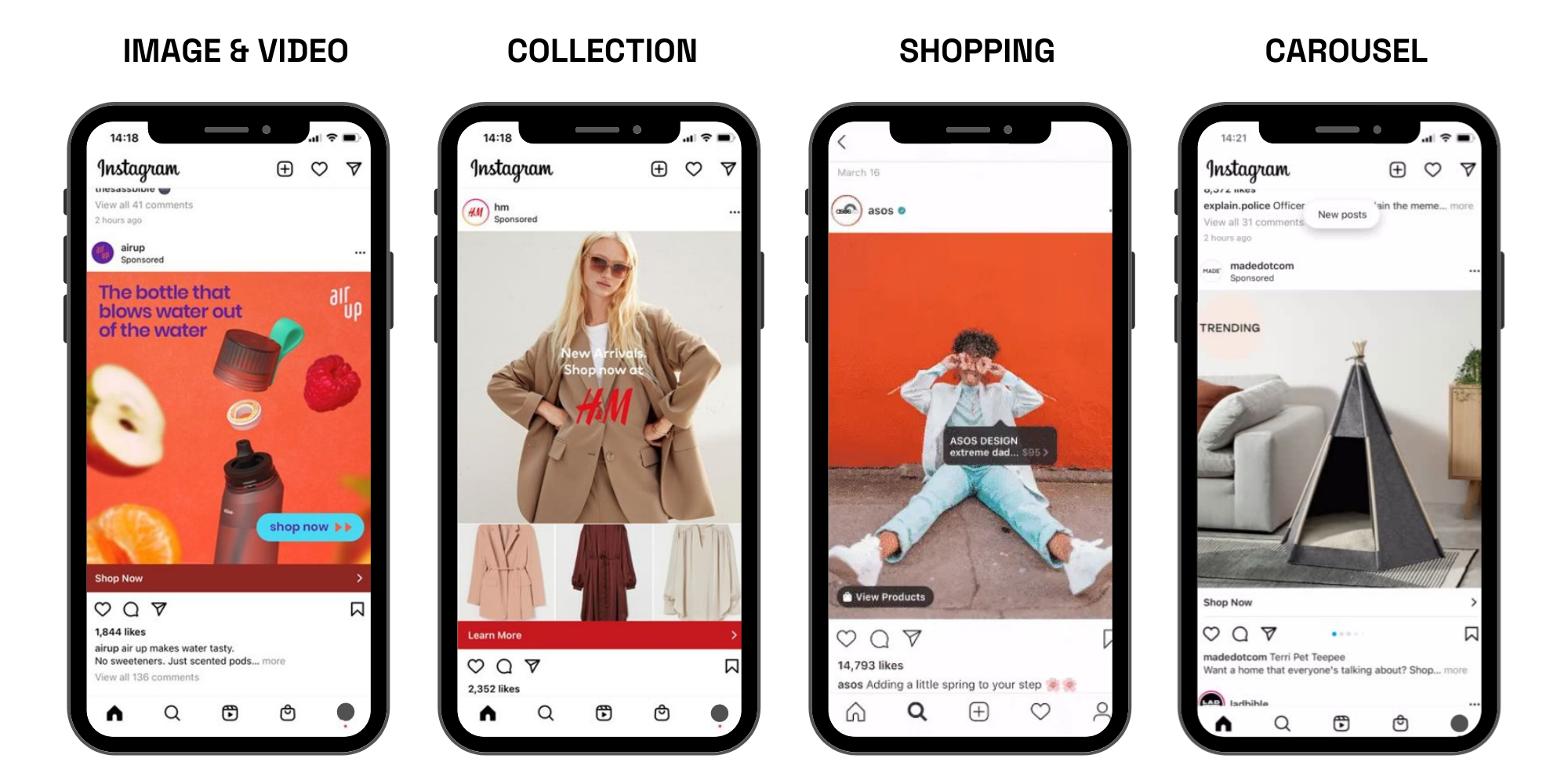 Different Instagram Ads available
