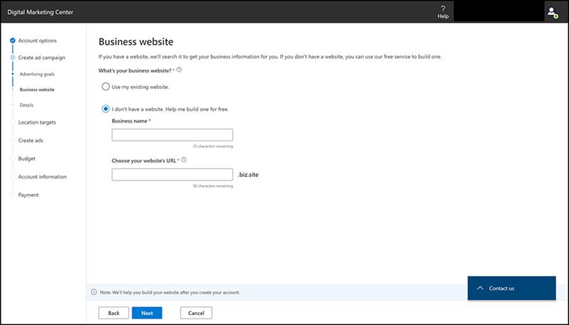 Microsoft Digital Marketing Centre Website Creation Dashboard