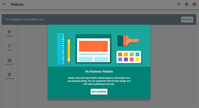 Google My Business Website Creation Dashboard