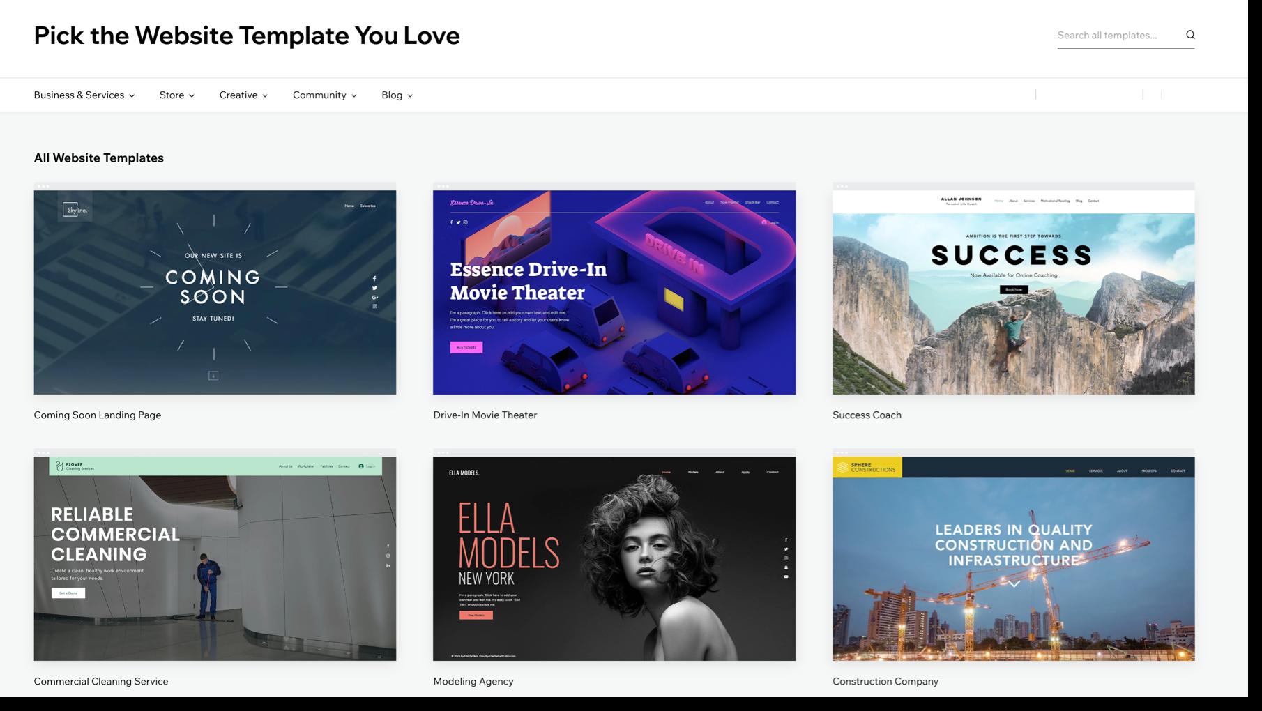 Wix Website Creation Template Picker