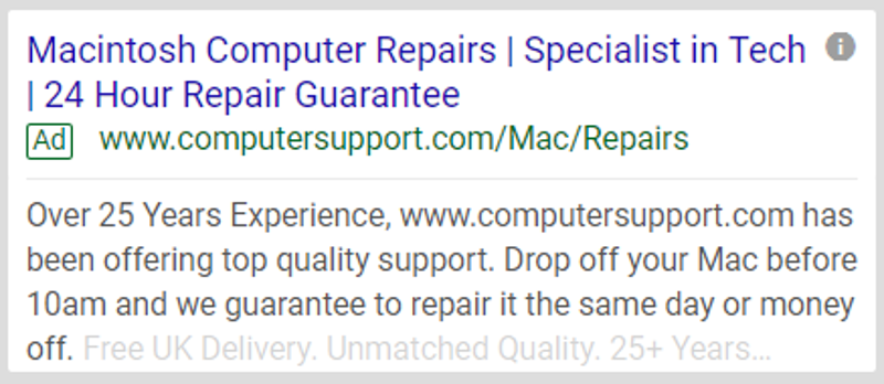Google Search Ad - Computer repair examples