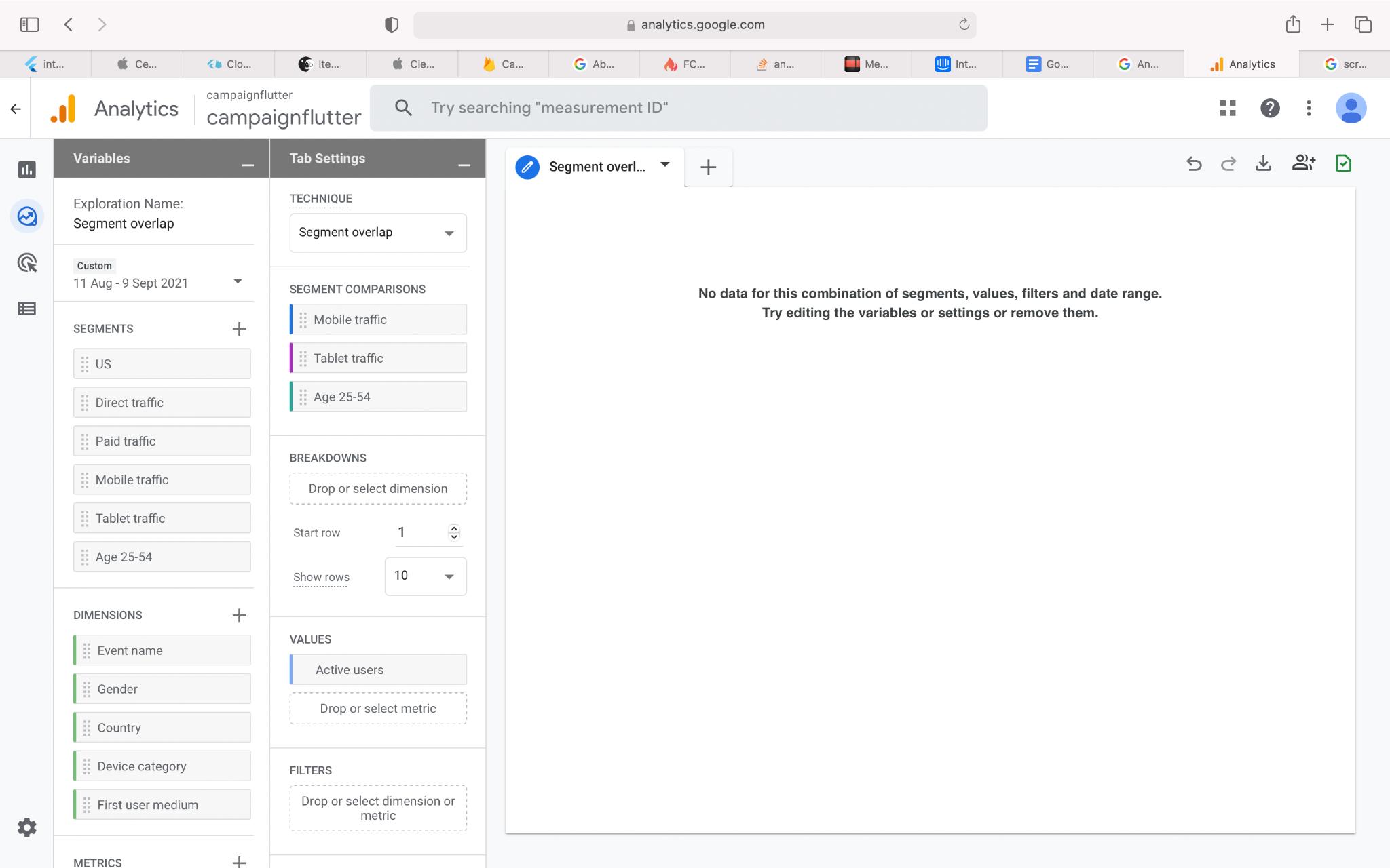 Google Analytics 4 segment overlap report user interface example