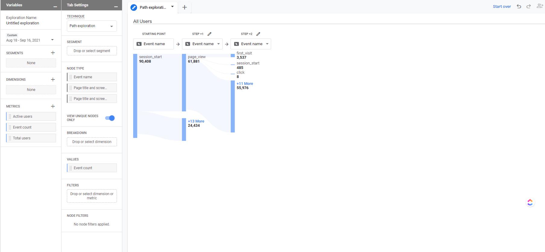 Google Analytics 4 Path Exploration Report User Interface