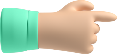A cute 3D hand as a pointer of CTA to create a free account
