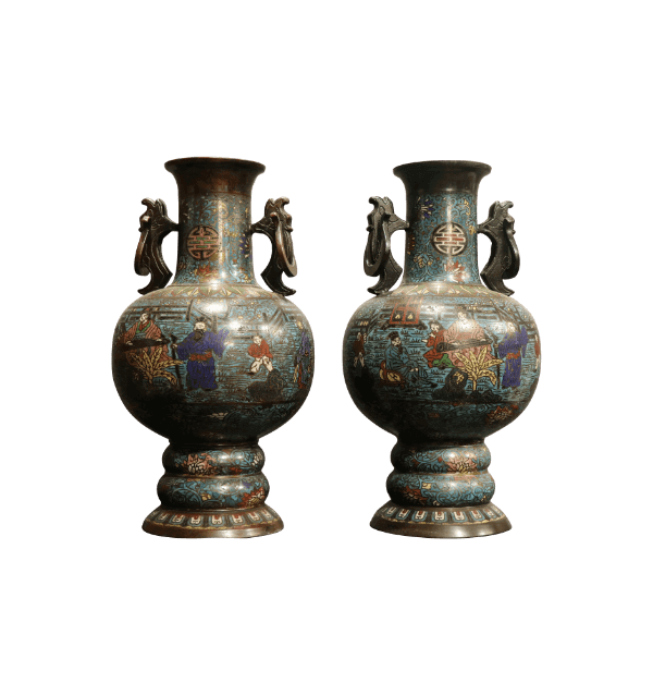 A pair of 19th Century Cloisonne Vases
