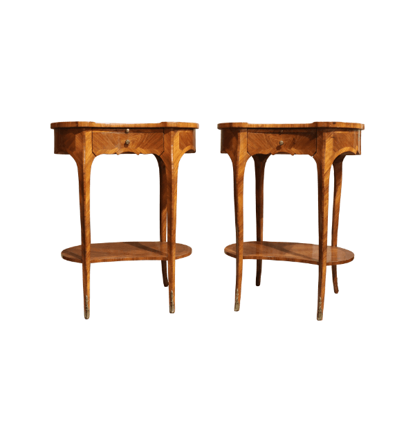 A pair of 1900s walnut shaped bedside table