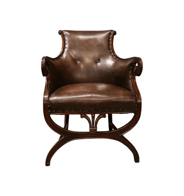 19th Century Leather library Chairs