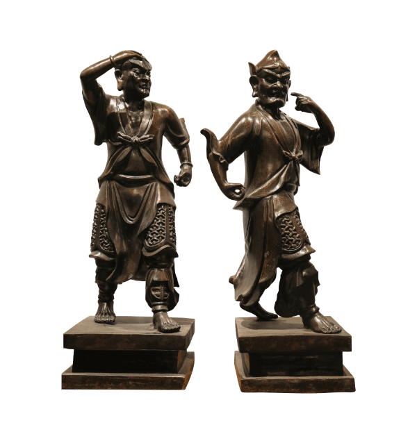 A pair of mid 20th century Japanese bronze Samurai Warriors
