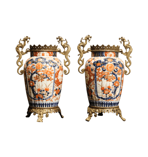 A pair of ormolu mounted Imari vases