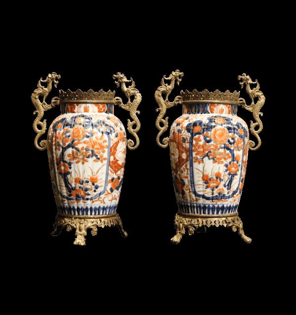 A pair of ormolu mounted Imari vases