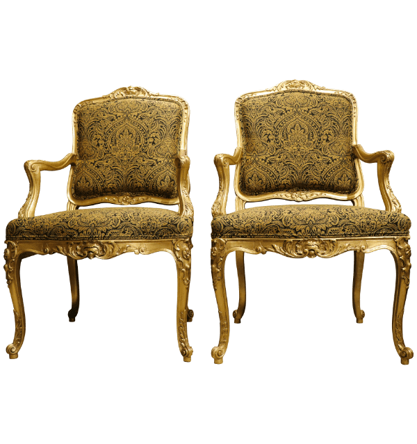 A Pair of giltwood French Armchairs.