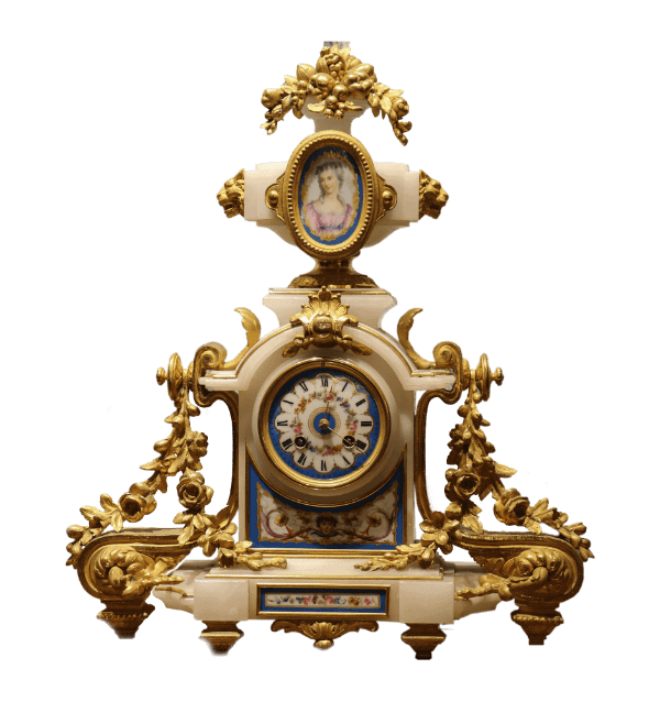 19th century French gilt metal and alabaster Clock