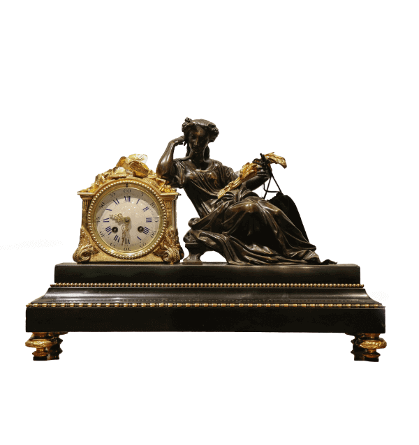 19th century French Bronze and Marble Mantel Clock