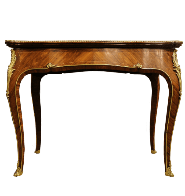 19th centuryFrench Walnut and kingwood fold over tea table