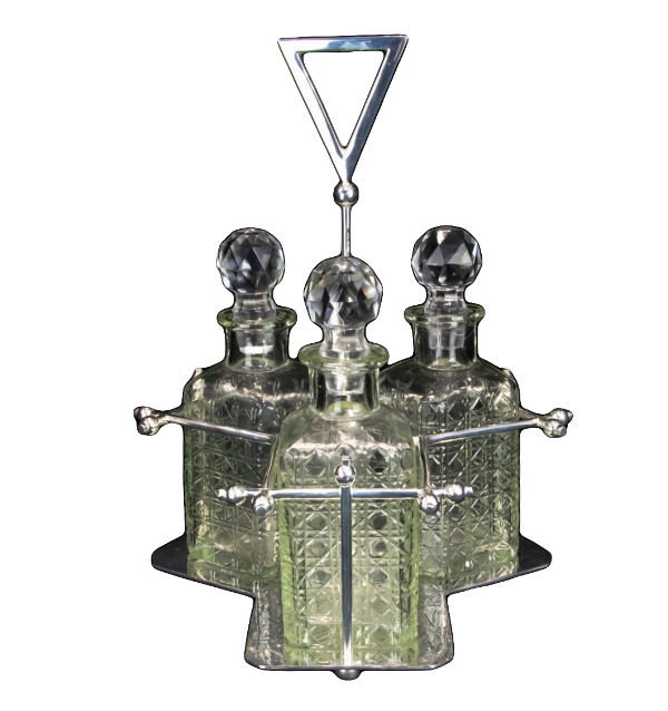 Silver Plated Glass Decanter, 20th Century