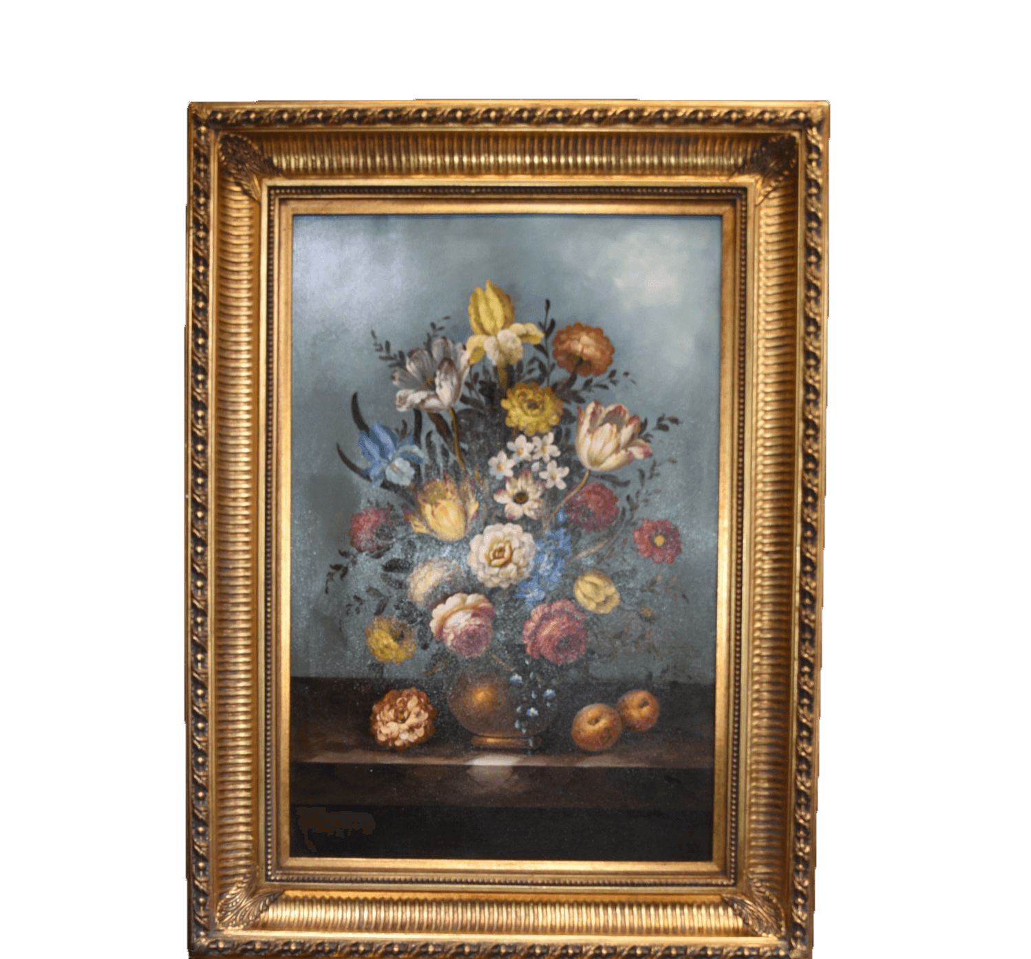 Large original oil painting still life flowers in gilt frame