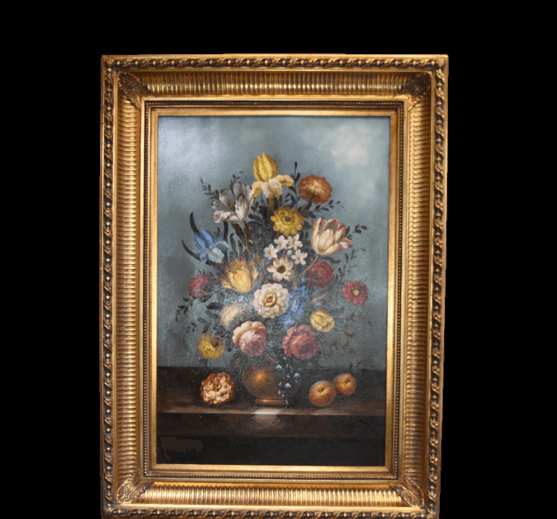 Large original oil painting still life flowers in gilt frame