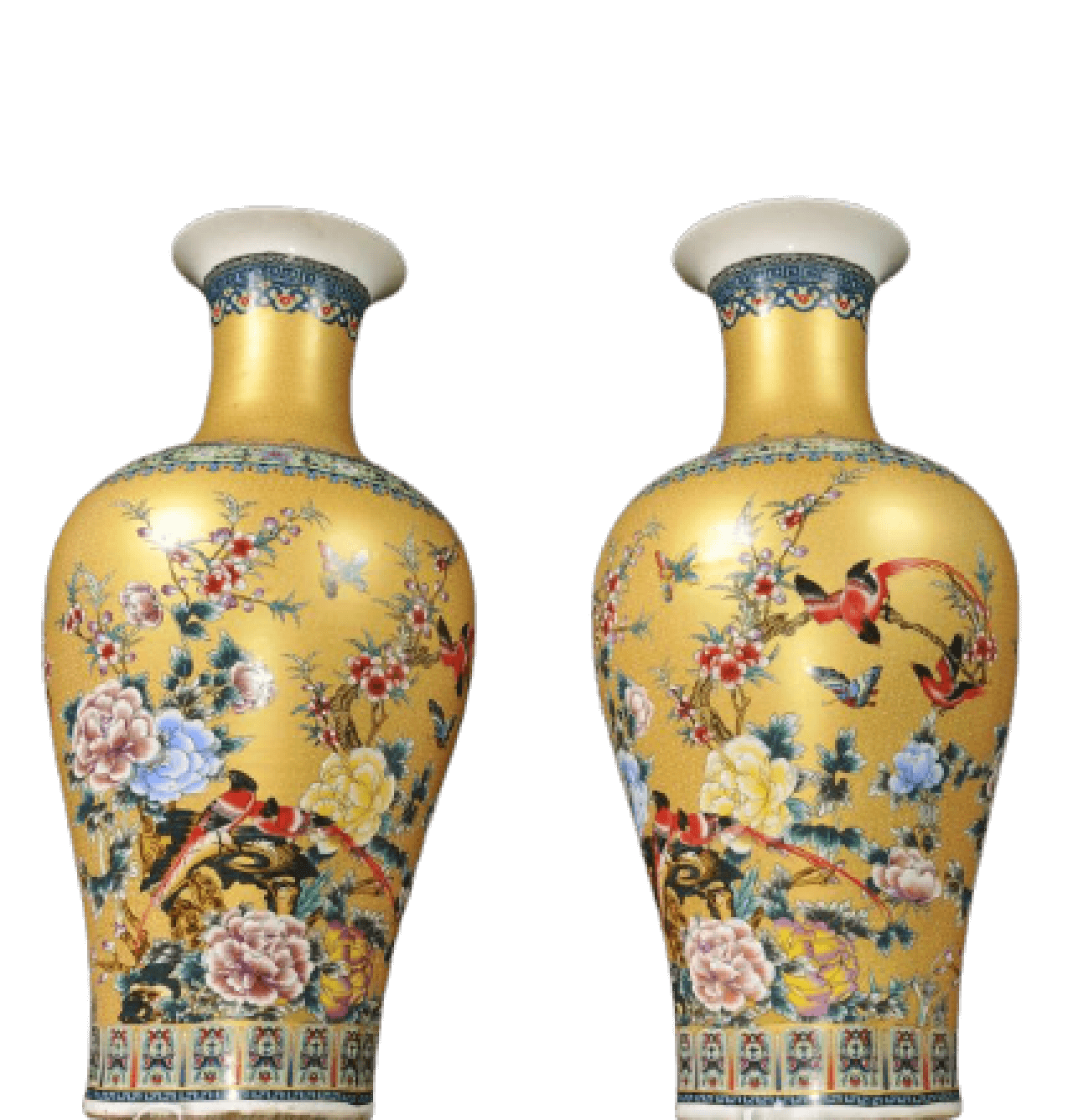 A Pair of Famille Jaune Style Chinese Vases
