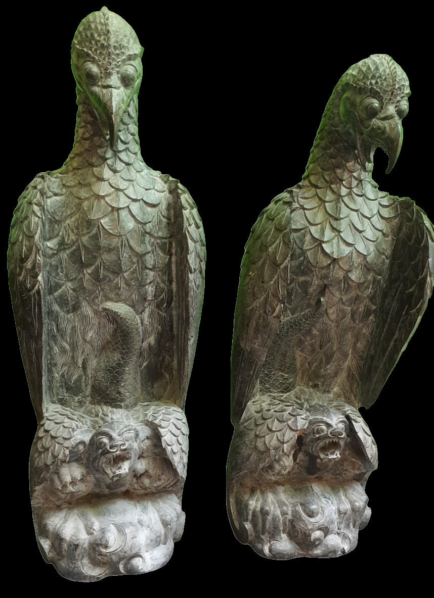 A Pair of 7ft Carved Wood Phoenix Sculptures
