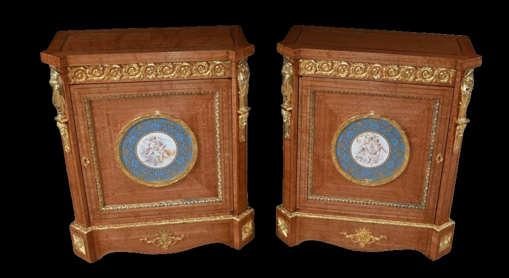 Pair of Satinwood Porcelain Plaque Satinwood Cabinets