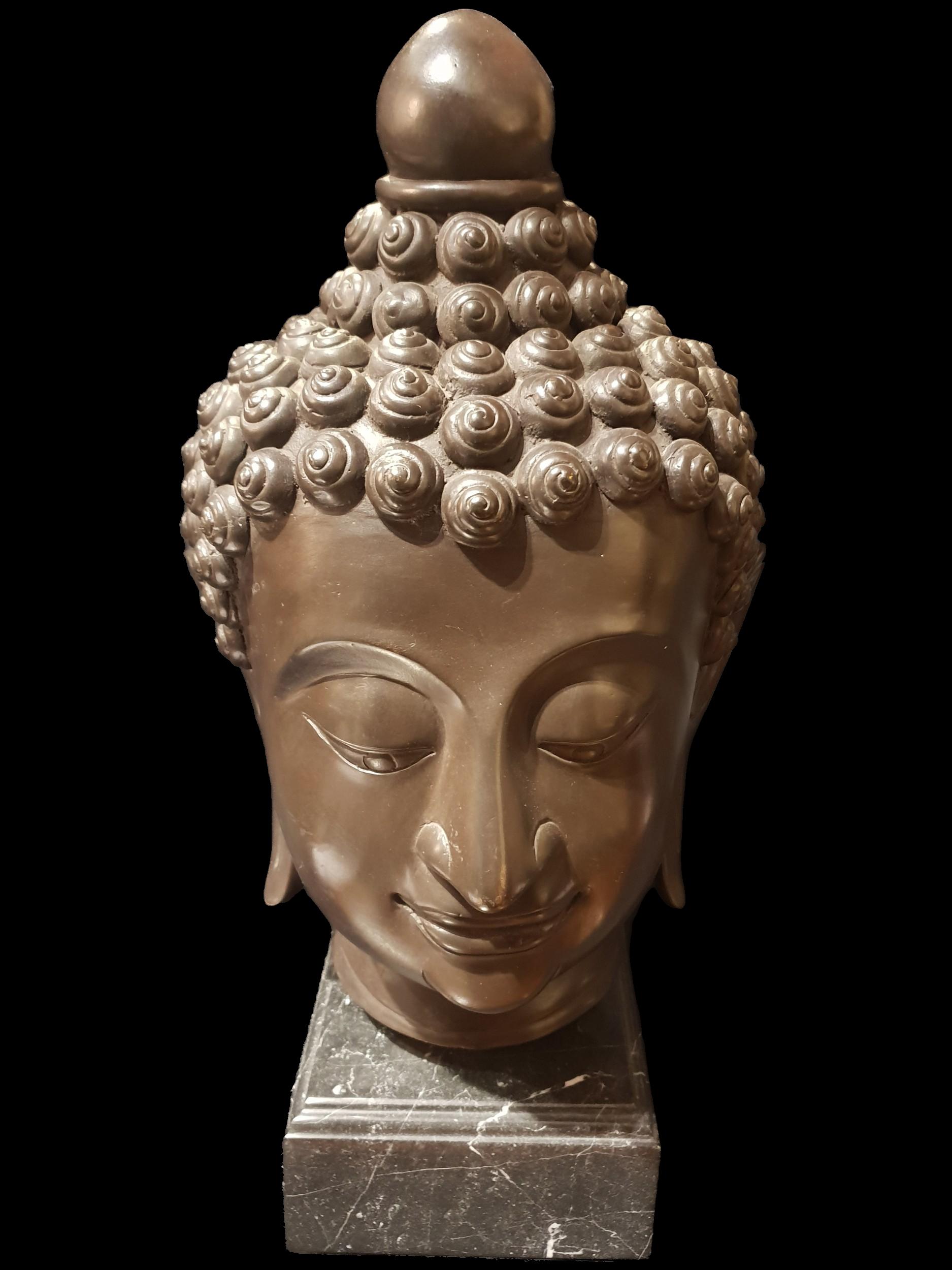 C20th Bronze Buddha Head