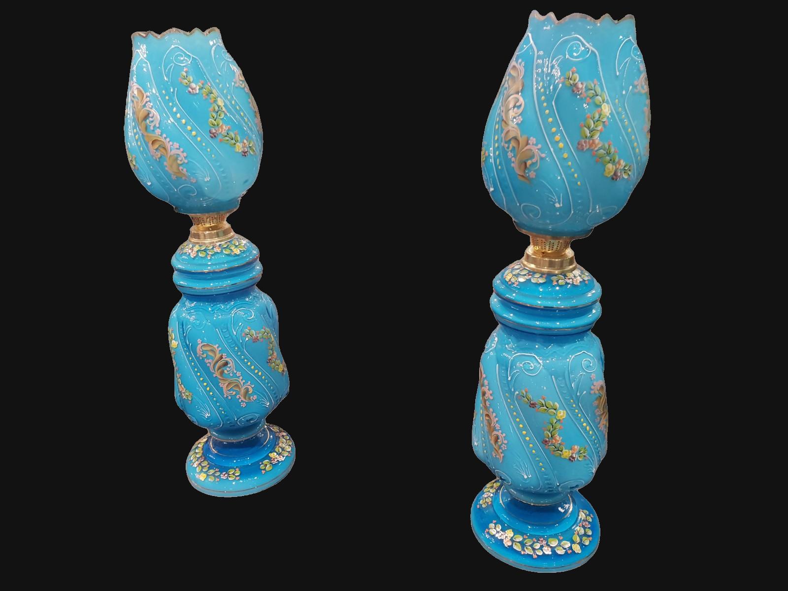 Pair of Bohemian Oil Lamps