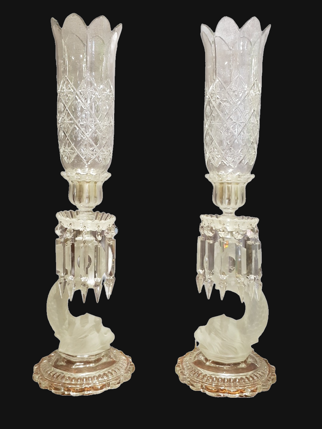Lovely Pair of Crystal Dolphin  Hurricane Lamps