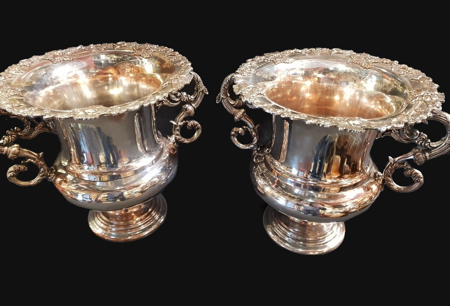 A Fine Pair of C20th Silver Plated Wine Coolers