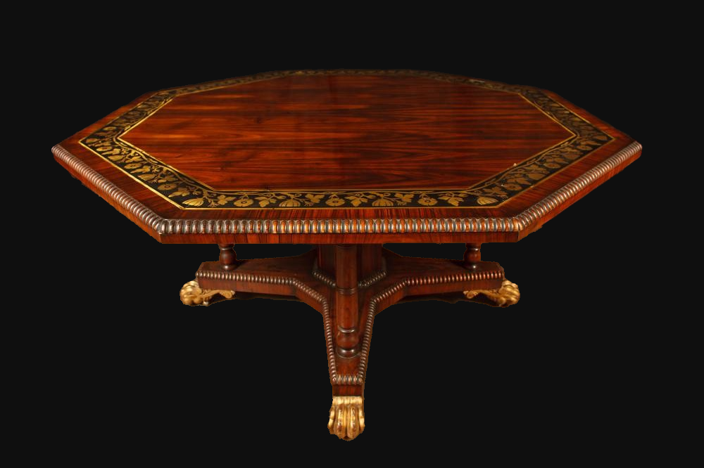 Rosewood Brass Inlaid Octagonal Dining Table