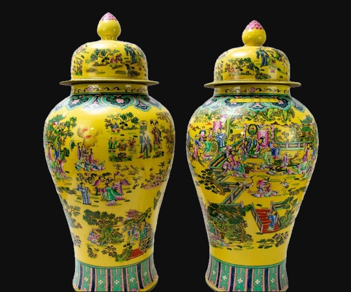 Large Pair of Famille Jaune Chinese lidded Vases
