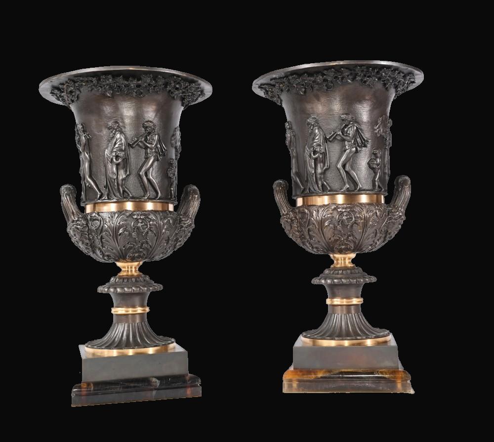 Pair of Bronze Classical Campana Urns