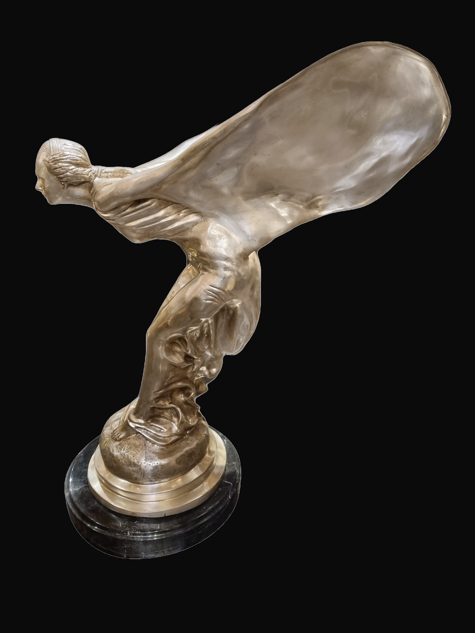 C20th Silver plated bronze statue of a flying lady on Marble Base